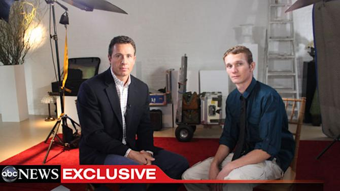 """This undated image from video shows ABC News' Chris Cuomo, left, with Aaron Fisher, 18, a victim of former Penn State assistant football coach Jerry Sandusky during an interview airing Friday, Oct. 19, 2012 on the news magazine show """"20/20,"""" at 10 p.m. EST on ABC. Sandusky wants his child sexual abuse charges tossed out """"and/or"""" a new trial, saying the statute of limitations had run out for many of the 45 counts for which he was convicted in June. Currently in a county jail near State College, he is awaiting transfer to the state prison system to begin serving a 30- to 60-year sentence. (AP Photo/ABC News)"""