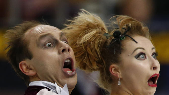 Germany's Zhiganshina and Gazsi perform during the ice dance free program at the ISU Grand Prix of Figure Skating Rostelecom Cup in Moscow