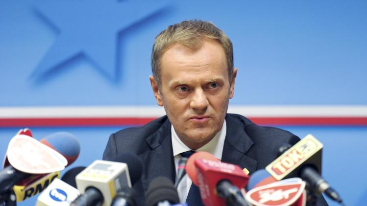 File photo shows Poland's PM Tusk addressing a news conference after an European Union leaders summit in Brussels