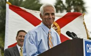 Former Republican Governor Crist addresses supporters in a waterfront park where he announced his Democratic candidacy for governor during a rally in St. Petersburg, Florida