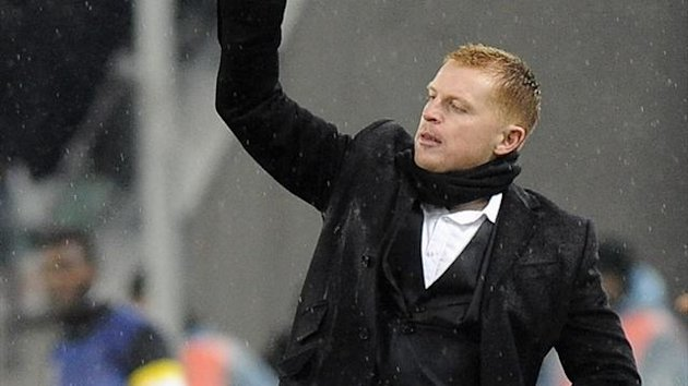 Celtic coach Neil Lennon gestures during the match against Juventus in the Champions League (Reuters)