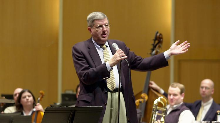 "FILE - This March 27, 2003 file photo shows conductor and composer Marvin Hamlisch after being appointed the principal pops conductor for the Buffalo Philharmonic Orchestra at the Kleinhan's Music Hall in Buffalo, N.Y.  Hamlisch, a conductor and award-winning composer best known for the torch song ""The Way We Were,"" died Monday, Aug. 6, 2012 in Los Angeles. He was 68. (AP Photo/Don Heupel, file)"