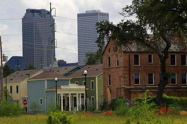 An abandoned part of the old Lafitte housing projects in New Orleans. (AP Photo/Gerald Herbert)
