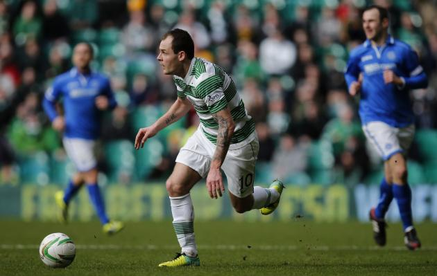 Celtic's Stokes controls the ball against St Johnstone during their Scottish Premier League soccer match in Glasgow