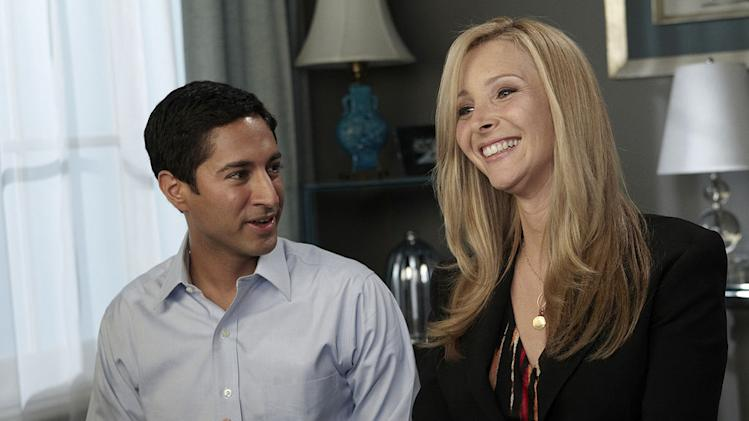 "Maulik Pancholy as Kamal Prakash and Lisa Kudrow as Fiona Wallice in ""Web Therapy."""