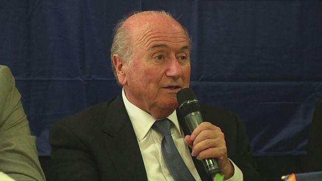 FIFA Secretary-General and Sepp Blatter react to events in Boston [AMBIENT]