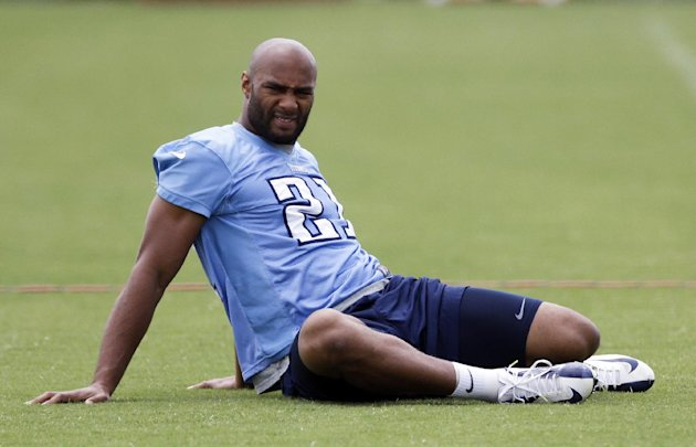 In this photo taken June 18, 2013, Tennessee Titans safety George Wilson stretches during an NFL football minicamp in Nashville, Tenn. The Titans signed veteran defenders Wilson and Bernard Pollard th