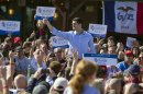 Republican vice presidential candidate, Rep. Rep. Paul Ryan, R-Wis. prepares to speak at an campaign event in Council Bluffs, Iowa, Sunday, Oct. 21, 2012. (AP Photo/Nati Harnik)