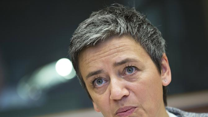 European Competition Commissioner Vestager addresses the European Parliament's tax rulings committee at the EU Parliament in Brussels