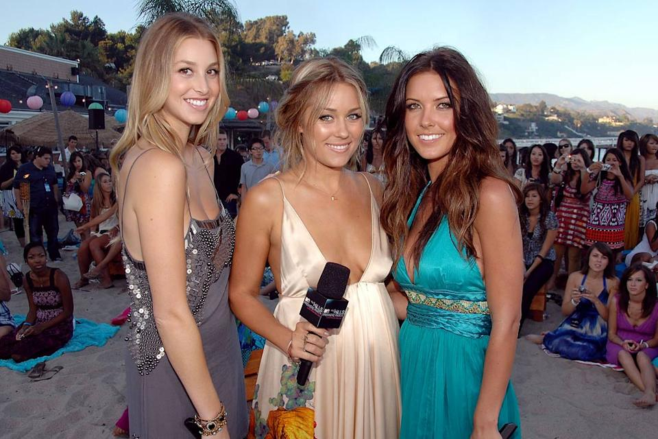 "Whitney Port, Lauren Conrad and Audrina Patridge during MTV's live premiere and party of ""The Hills"" held at the Paradise Cove Beach Cafe on August 18, 2008 in Malibu, California."