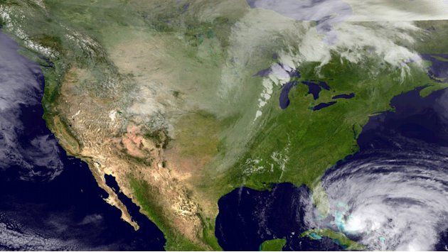 FILE - This NOAA satellite image taken Thursday, Oct. 25, 2012, provided by the National Hurricane Center shows Category 2 Hurricane Sandy moving northward across eastern Cuba. According to the Nation