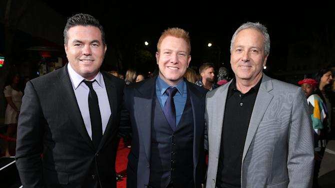 """Relativity Media's Tucker Tooley, Relativity Media's Ryan Kavanaugh and Producer David Hoberman at the LA premiere of """"21 and Over"""" at the Westwood Village Theatre on Thursday, Feb. 21, 2013 in Los Angeles. (Photo by Eric Charbonneau/Invision/AP)"""