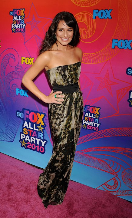 """Glee's"" Lea Michele arrives at the Fox 2010 Summer TCA All-Star Party on August 2, 2010 in Santa Monica, California. [Share this slideshow on Twitter]"
