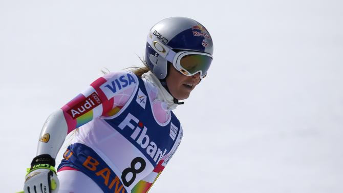 Vonn of the U.S. reacts after the first run of the women's Alpine Combined Super G event of the Alpine Skiing World Cup in Bansko