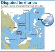 Map showing the disputed Paracel and Spratly islands in the South China Sea