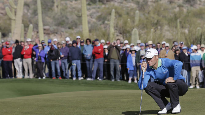 Sweden's Alexander Noren lines up a putt on 17 in the second round of play against Northern Ireland's Graeme McDowell during the Match Play Championship golf tournament, Friday, Feb. 22, 2013, in Marana, Ariz. McDowell won 1 up in 20 holes. (AP Photo/Ted S. Warren)