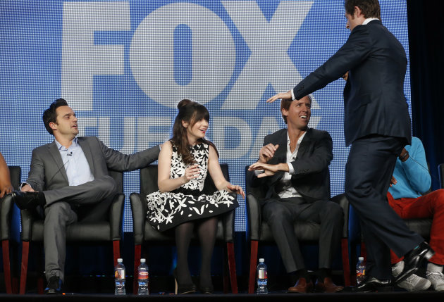 Jake Johnson,  Zooey Deschanel, Nat Faxon and Lucas Neff attend the Fox Winter TCA Tour at the Langham Huntington Hotel on Tuesday, Jan. 8, 2013, in Pasadena, Calif. (Photo by Todd Williamson/Invision