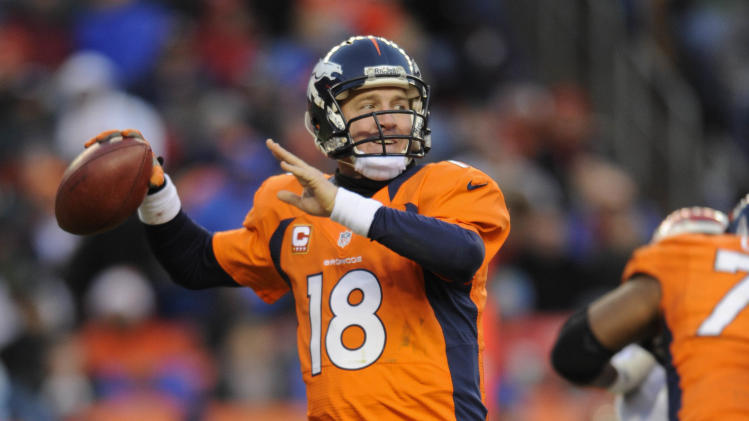 Denver Broncos quarterback Peyton Manning steps back to pass against the Kansas City Chiefs in the fourth quarter of an NFL football game, Sunday, Dec. 30, 2012, in Denver. (AP Photo/Jack Dempsey)
