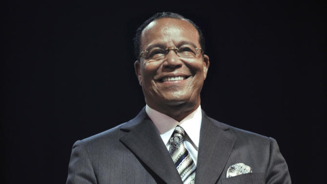 Minister Louis Farrakhan enters the U.I.C. Pavilion during the Saviours' Day annual convention in Chicago, Sunday, Feb. 24, 2013. (AP Photo/Paul Beaty)