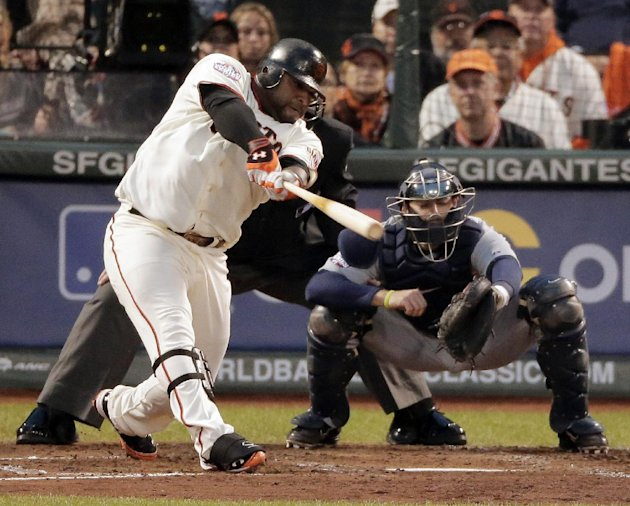 San Francisco Giants' Pablo Sandoval hits a two run home run during the third inning of Game 1 of baseball's World Series against the Detroit Tigers Wednesday, Oct. 24, 2012, in San Francisco.