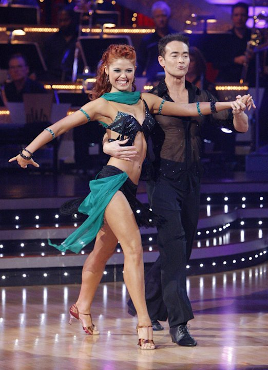 "Mark Dacascos and Anna Trebunskaya perform on ""Dancing with the Stars."""