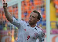 Danish midfielder Michael Krohn-Dehli celebrates after scoring a goal during their Euro 2012 championships Group B match against the Netherlands, on June 9, at the Metalist Stadium in Kharkiv. Denmark won 1-0