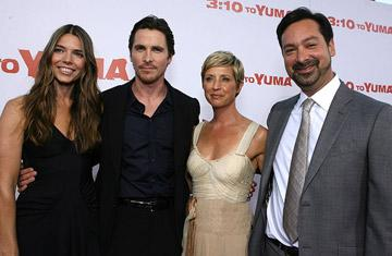 Sibi Blazic , Christian Bale , producer Cathy Konrad and director James Mangold at the Los Angeles premiere of Lionsgate Films' 3:10 to Yuma
