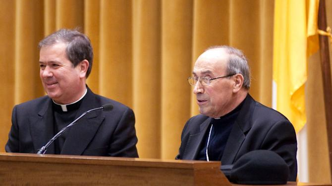 An undated picture made available by the Legion of Christ press office, Thursday, Oct. 11, 2012, showing  Rev. Alvaro Corcuera, left, flanked by Cardinal Velasio De Paolis.The superior general of the troubled Legion of Christ religious order has stepped aside unexpectedly, saying he simply doesn't have the energy to oversee the radical reform of the congregation ordered by the Vatican. The Rev. Alvaro Corcuera said in a letter obtained Thursday, Oct. 11, 2012, that his vicar general, the Rev. Sylvester Heereman, would govern the order until a planned general assembly 2013 or 2014 to elect a new superior. Corcuera will retain his title, but no longer will run the Legion. (AP Photo/LC Photoservice)