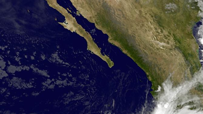 This NASA/NOAA Goes West satellite image taken 1245 UTC shows storm activity moving in on Mexico's Pacific coast on October 22, 2015