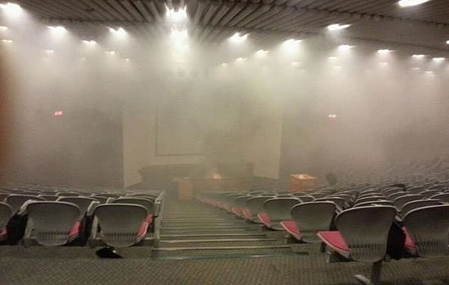 "A projector ""exploded"" at one of the NUS Engineering lecture theatres on Monday. (Photo courtesy of Ng Wei Lin)"