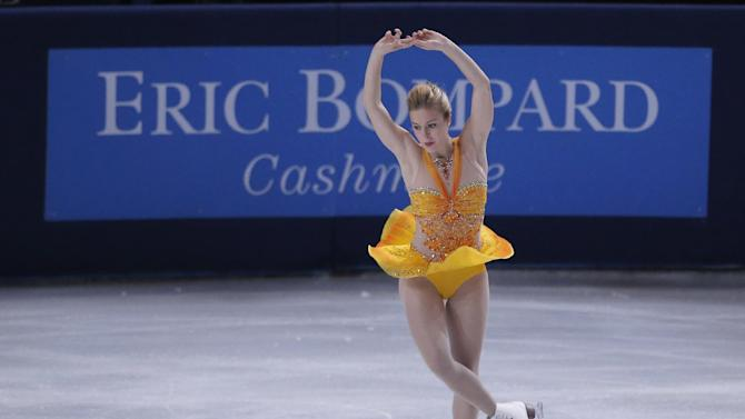 Ashley Wagner of the U.S. performs in the Ladies Free Skating of the ISU Figure Skating Eric Bompard Trophy at Bercy arena in Paris, Saturday, Nov. 17, 2012. (AP Photo/Francois Mori)
