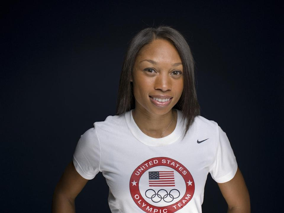 FILE - This May 13, 2012 file photo shows Allyson Felix at  the 2012 Team USA Media Summit in Dallas. If  Felix is looking for advice about whether to try the 200-400 double at the Olympics, Michael Johnson has a message for her: Don't bother.  (AP Photo/Victoria Will, File)