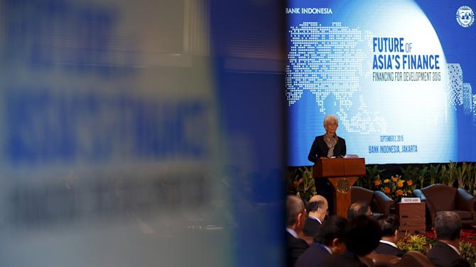 International Monetary Fund Managing Director Christine Lagarde speaks at the start of a finance conference in Jakarta