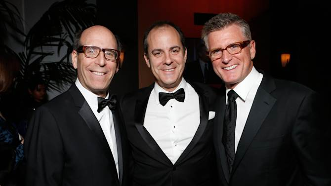 CEO Showtime Networks Matt Blank, and Chairman of Entertainment, President of Entertainment Showtime Networks David Nevins and Fox Chairman of Entertainment Kevin Reilly attend the Fox Golden Globes Party on Sunday, January 13, 2013, in Beverly Hills, Calif. (Photo by Todd Williamson/Invision for Fox Searchlight/AP Images)