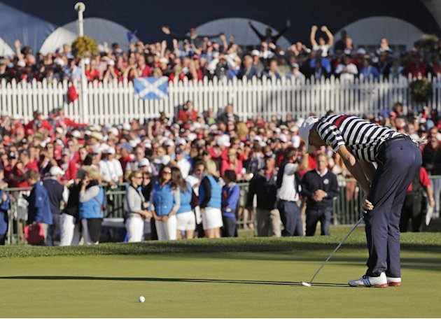 Sept. 30 USA's Jim Furyk reacts after missing a putt on the 18th hole and losing to Europe's Sergio Garcia during a singles match at the Ryder Cup PGA golf tournament Sunday, Sept. 30, 2012, a