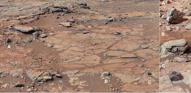 This image released by NASA shows the view of Curiosity's planned first drilling site. The six-wheel, nuclear-powered rover landed five months ago on a mission to study whether Mars was habitable. Eng