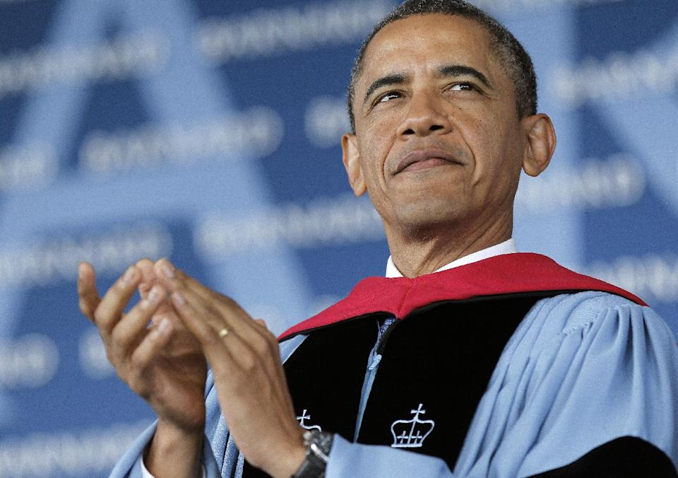 President Barack Obama is seen on stage before delivering the commence address at Barnard College, Monday, May 14, 2012, in New York. (AP Photo/Pablo Martinez Monsivais)