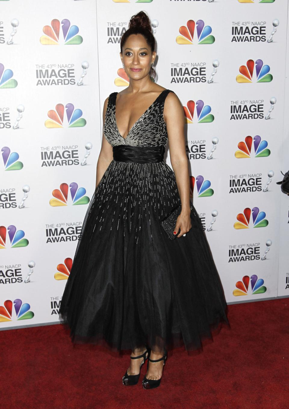 Tracee Ellis Ross arrives at the 43rd NAACP Image Awards on Friday, Feb. 17, 2012, in Los Angeles. (AP Photo/Matt Sayles)