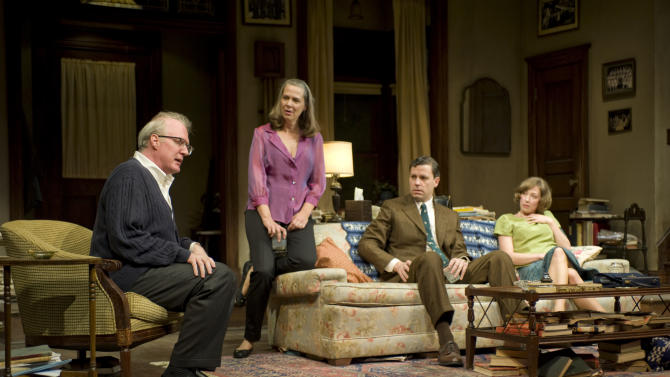 This theater image released by Jeffrey Richards Associates shows, from left, Tracy Letts, Amy Morton, Madison Dirks and Carrie Coon during a performance of Edward Albee's Who's Afraid of Virginia Woolf, opening Oct. 13, 2012 at the Booth Theatre in New York. (AP Photo/Jeffrey Richards Associates, Michael Brosilow)