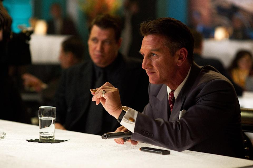 "FILE - This publicity film image released by Warner Bros. Pictures shows Holt McCallany, left, as Karl Lockwood, and Sean Penn, as Mickey Cohen, in the film, ""Gangster Squad."" (AP Photo/Warner Bros. Pictures, Wilson Webb, File)"