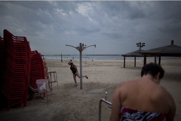 In this Dec. 4, 2012 photo, two immigrants from the Ural region of the former Soviet Union rinse off after bathing in the Mediterranean Sea in the early morning, in Tel Aviv, Israel. Many Soviet immig