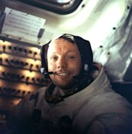 Apollo 11 commander Neil Armstrong inside the lunar module on 21 July 1969