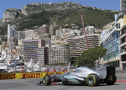 Mercedes driver Lewis Hamilton, of Britain, steers his car during the first free practice session at the Monaco racetrack, in Monaco, Thursday, May 23, 2013. The formula one race will be held on Sunda