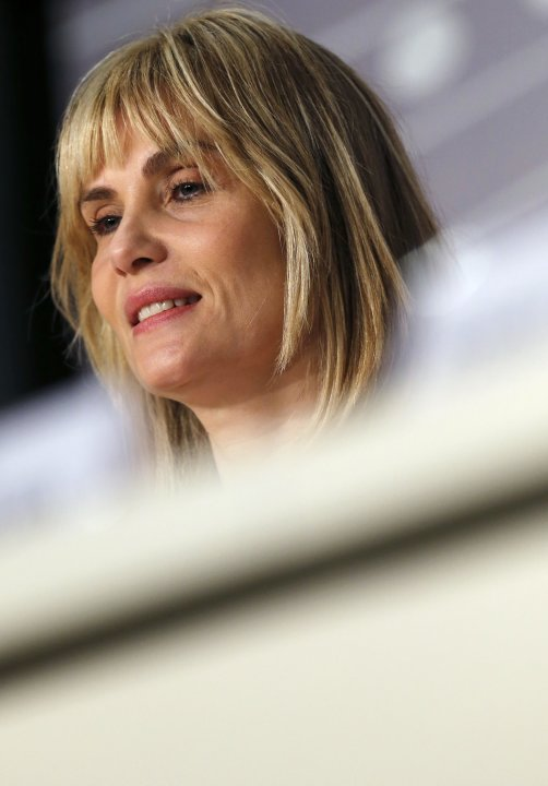 "Cast member Emmanuelle Seigner attends a news conference for the film ""La Venus a la Fourrure"" during the 66th Cannes Film Festival"