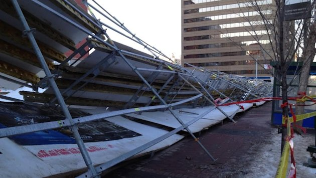 Scaffolding at a construction site on Jasper Avenue and 109th Street in downtown Edmonton was upended by record high winds Wednesday.