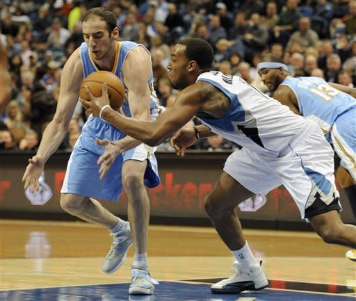 Pekovic leads Timberwolves over Nuggets 108-105