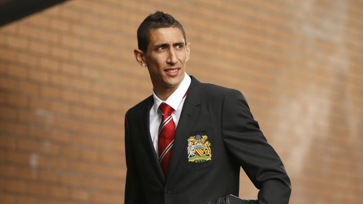 Manchester United's new signing Di Maria arrives at Turf Moor prior to their English Premier League soccer match against Burnley at Turf Moor in Burnley