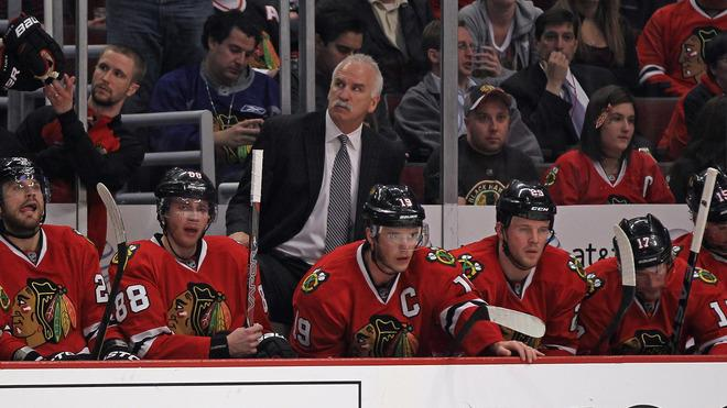 Head Coach Joel Quenneville Of The Chicago Blackhawks And (L-R) Viktor Stalberg #25, Patrick Kane #88, Jonathan Toews # Getty Images