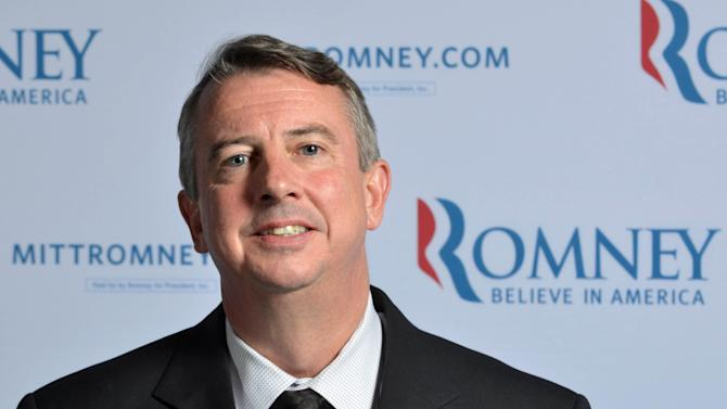 """In this photo taken June 1, 2012, Romney Campaign Senior Adviser Ed Gillespie poses for a photo at Romney Campaign headquarters in Boston. The Obama campaign is questioning whether Romney was at the helm of private equity firm Bain Capital when it sent jobs overseas, allegations that """"independent fact checkers have said are not true, they're indeed a lie,"""" Gillespie said Sunday, July 15, 2012, on CNN's """"State of the Union."""" (AP Photo/Josh Reynolds)"""