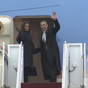 Obama departs for Nelson Mandela memorial in South Africa